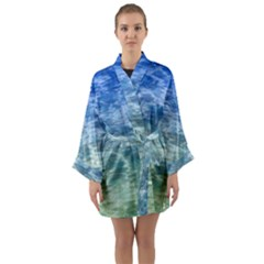 Water Blue Transparent Crystal Long Sleeve Satin Kimono