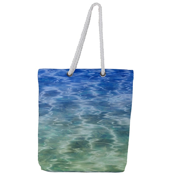Water Blue Transparent Crystal Full Print Rope Handle Tote (Large)