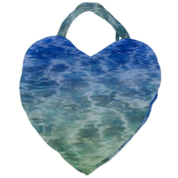 Water Blue Transparent Crystal Giant Heart Shaped Tote