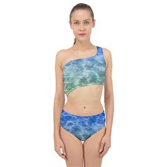 Water Blue Transparent Crystal Spliced Up Two Piece Swimsuit by HermanTelo