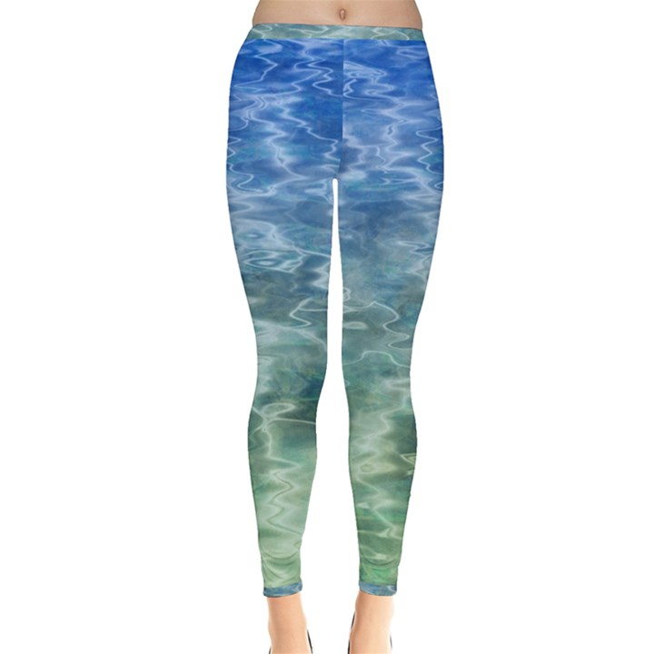 Water Blue Transparent Crystal Inside Out Leggings