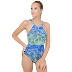 Water Blue Transparent Crystal High Neck One Piece Swimsuit by HermanTelo