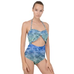 Water Blue Transparent Crystal Scallop Top Cut Out Swimsuit