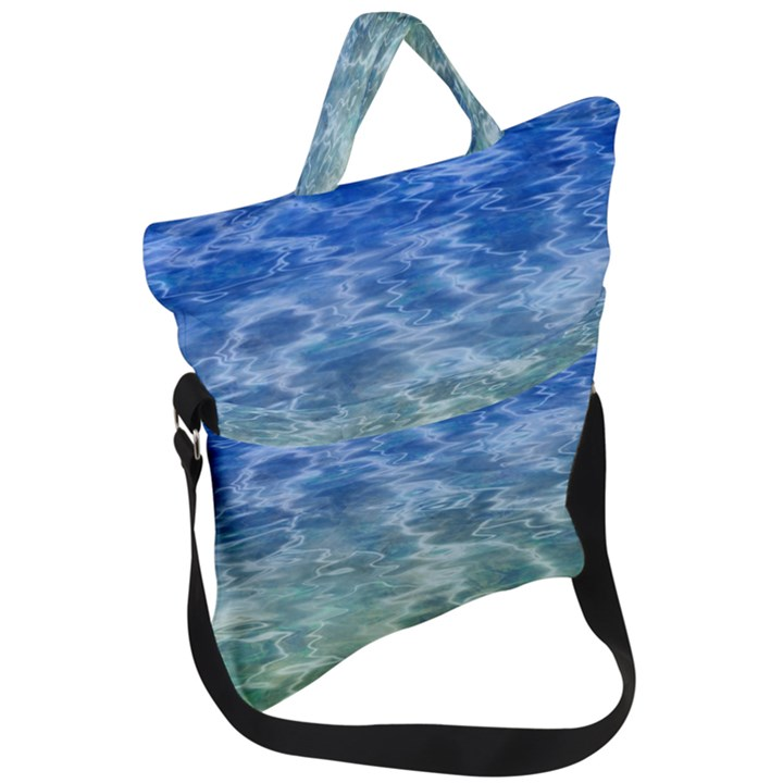Water Blue Transparent Crystal Fold Over Handle Tote Bag