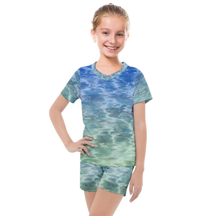 Water Blue Transparent Crystal Kids  Mesh Tee and Shorts Set