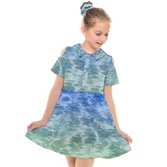 Water Blue Transparent Crystal Kids  Short Sleeve Shirt Dress