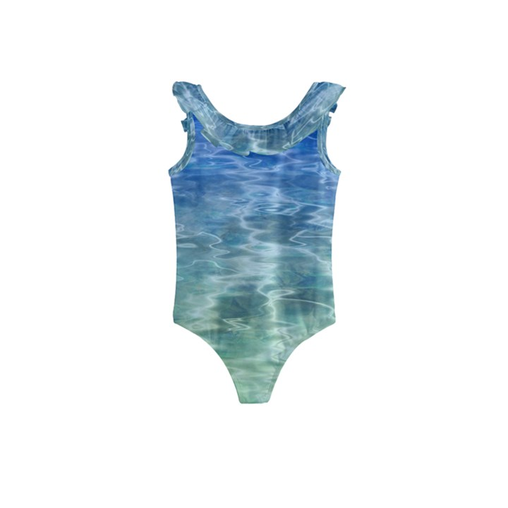 Water Blue Transparent Crystal Kids  Frill Swimsuit