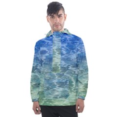 Water Blue Transparent Crystal Men s Front Pocket Pullover Windbreaker by HermanTelo