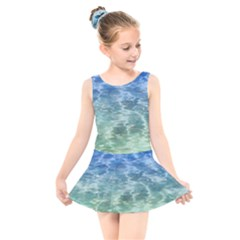 Water Blue Transparent Crystal Kids  Skater Dress Swimsuit by HermanTelo