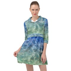 Water Blue Transparent Crystal Mini Skater Shirt Dress by HermanTelo