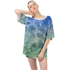 Water Blue Transparent Crystal Oversized Chiffon Top by HermanTelo