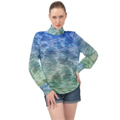 Water Blue Transparent Crystal High Neck Long Sleeve Chiffon Top