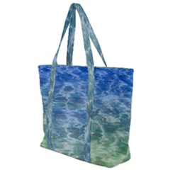 Water Blue Transparent Crystal Zip Up Canvas Bag