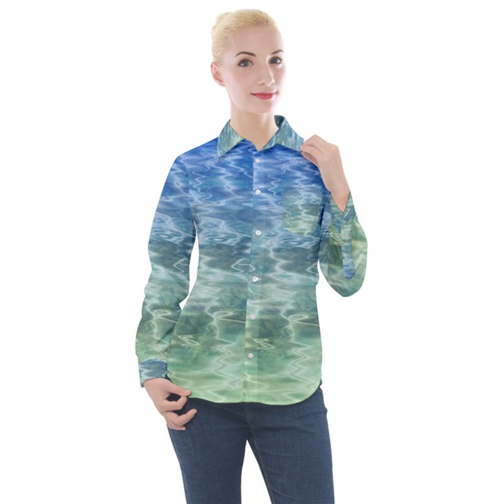 Water Blue Transparent Crystal Women s Long Sleeve Pocket Shirt