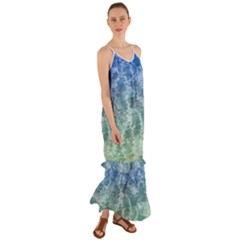Water Blue Transparent Crystal Cami Maxi Ruffle Chiffon Dress