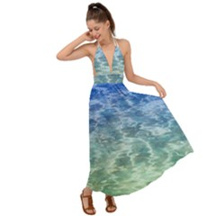 Water Blue Transparent Crystal Backless Maxi Beach Dress by HermanTelo