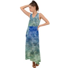 Water Blue Transparent Crystal V Neck Chiffon Maxi Dress