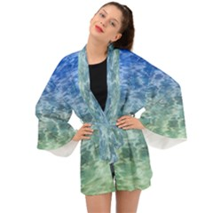 Water Blue Transparent Crystal Long Sleeve Kimono by HermanTelo
