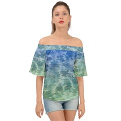 Water Blue Transparent Crystal Off Shoulder Short Sleeve Top