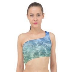Water Blue Transparent Crystal Spliced Up Bikini Top