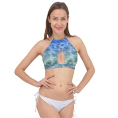 Water Blue Transparent Crystal Cross Front Halter Bikini Top by HermanTelo