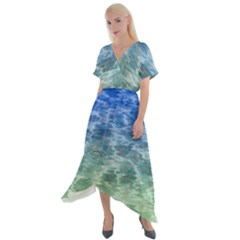 Water Blue Transparent Crystal Cross Front Sharkbite Hem Maxi Dress by HermanTelo