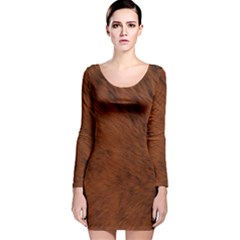 Fur Skin Bear Long Sleeve Velvet Bodycon Dress