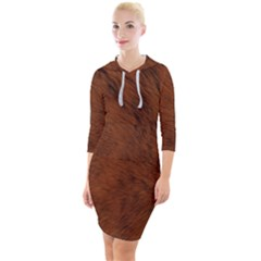 Fur Skin Bear Quarter Sleeve Hood Bodycon Dress