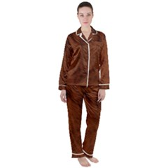 Fur Skin Bear Satin Long Sleeve Pyjamas Set