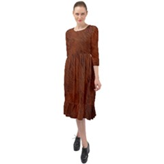 Fur Skin Bear Ruffle End Midi Chiffon Dress