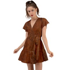 Fur Skin Bear Flutter Sleeve Wrap Dress