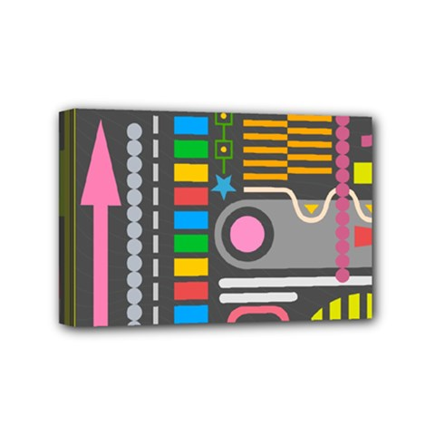 Pattern Geometric Abstract Colorful Arrows Lines Circles Triangles Mini Canvas 6  X 4  (stretched)