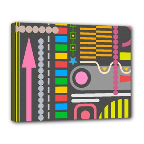 Pattern Geometric Abstract Colorful Arrows Lines Circles Triangles Canvas 14  X 11  (stretched) by Vaneshart