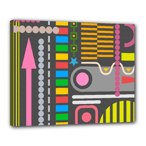Pattern Geometric Abstract Colorful Arrows Lines Circles Triangles Canvas 20  X 16  (stretched)