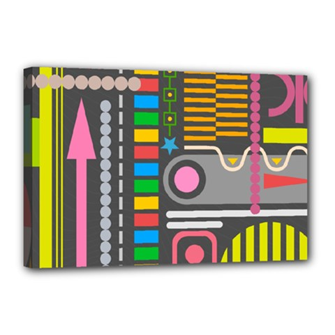 Pattern Geometric Abstract Colorful Arrows Lines Circles Triangles Canvas 18  X 12  (stretched)