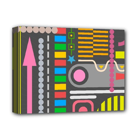Pattern Geometric Abstract Colorful Arrows Lines Circles Triangles Deluxe Canvas 16  X 12  (stretched)