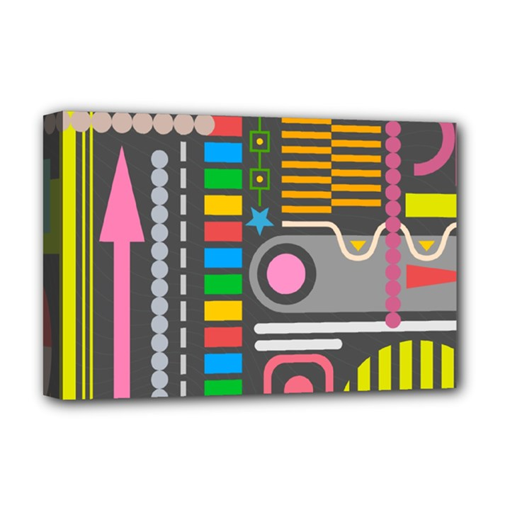 Pattern Geometric Abstract Colorful Arrows Lines Circles Triangles Deluxe Canvas 18  x 12  (Stretched)
