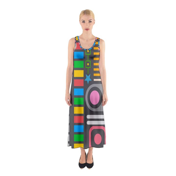 Pattern Geometric Abstract Colorful Arrows Lines Circles Triangles Sleeveless Maxi Dress