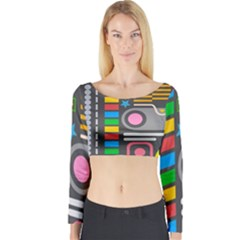 Pattern Geometric Abstract Colorful Arrows Lines Circles Triangles Long Sleeve Crop Top by Vaneshart