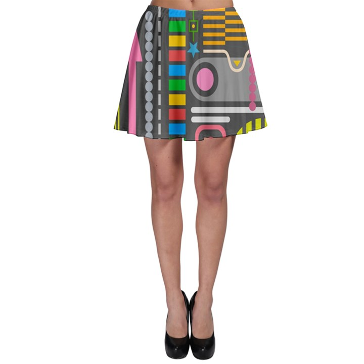 Pattern Geometric Abstract Colorful Arrows Lines Circles Triangles Skater Skirt