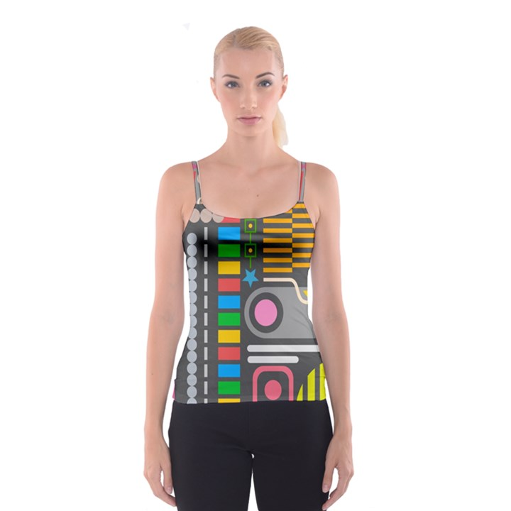 Pattern Geometric Abstract Colorful Arrows Lines Circles Triangles Spaghetti Strap Top