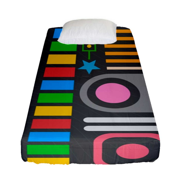 Pattern Geometric Abstract Colorful Arrows Lines Circles Triangles Fitted Sheet (Single Size)