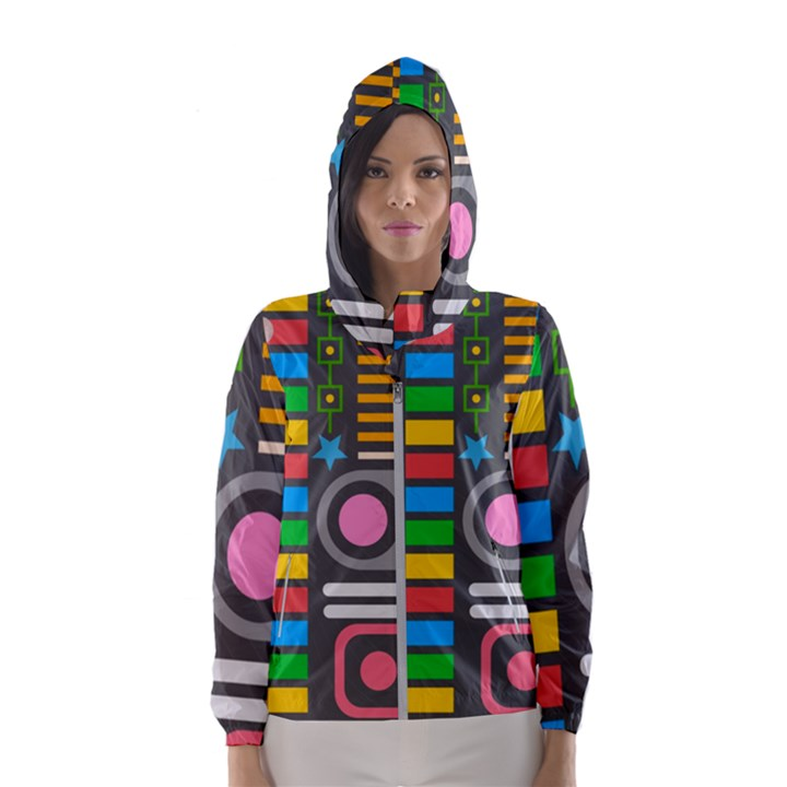 Pattern Geometric Abstract Colorful Arrows Lines Circles Triangles Women s Hooded Windbreaker