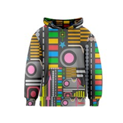 Pattern Geometric Abstract Colorful Arrows Lines Circles Triangles Kids  Pullover Hoodie