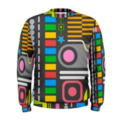 Pattern Geometric Abstract Colorful Arrows Lines Circles Triangles Men s Sweatshirt