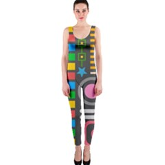 Pattern Geometric Abstract Colorful Arrows Lines Circles Triangles One Piece Catsuit