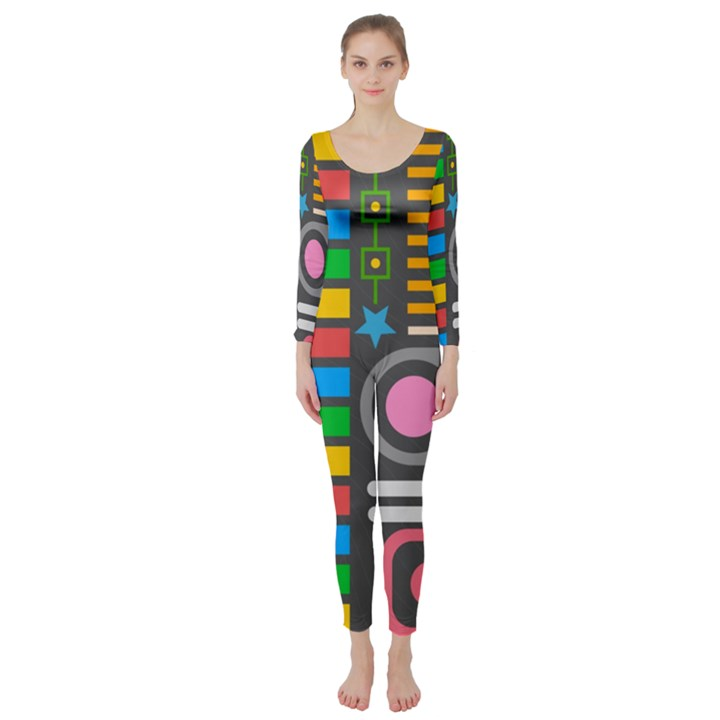 Pattern Geometric Abstract Colorful Arrows Lines Circles Triangles Long Sleeve Catsuit