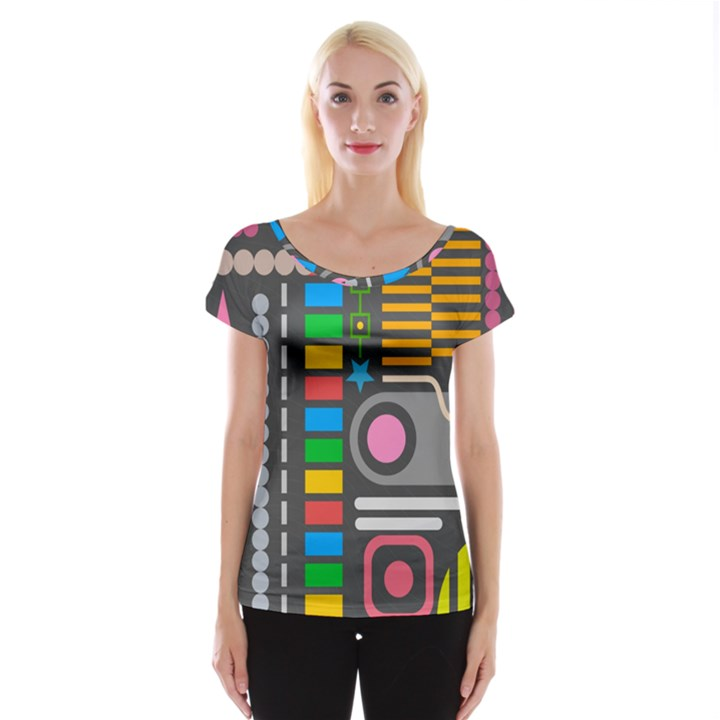 Pattern Geometric Abstract Colorful Arrows Lines Circles Triangles Cap Sleeve Top