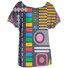 Pattern Geometric Abstract Colorful Arrows Lines Circles Triangles Women s Oversized Tee