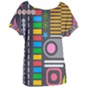 Pattern Geometric Abstract Colorful Arrows Lines Circles Triangles Women s Oversized Tee View1